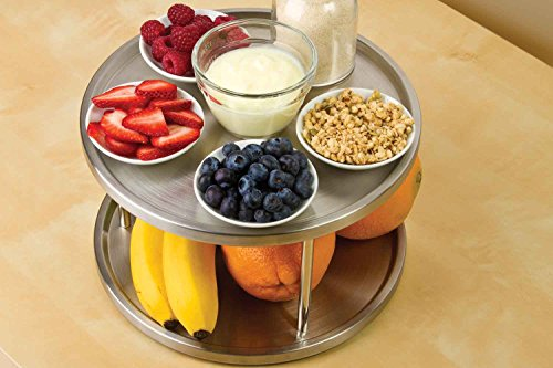Lazy Susan Spice Rack Organizer Tabletop Turntable 2 Tier Stainless Steel Metal Turning Table for Dining Table Kitchen Counters Cabinets - Smooth Ball Bearings - Beveled Edge by Perfect Life Ideas