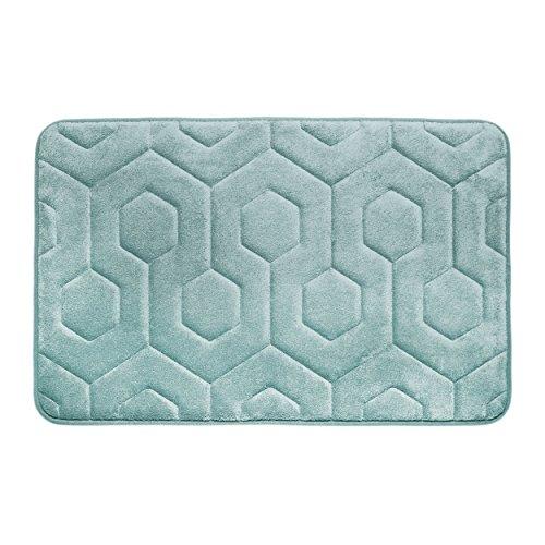 "Bounce Comfort Hexagon Memory Foam Bath Mat, 17 by 24"", Aqua -  YMF Carpets Inc., YMB004321"