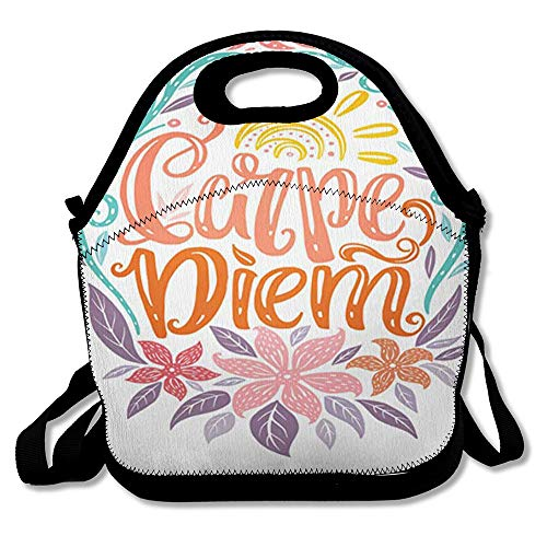 Reusable Lunch Bag for Men Women Carpe Diem Lettering Seize Day Unique Creative Typographic Tattoo Popular Latin Phrase Insulated Lunch Tote for Travel Office School