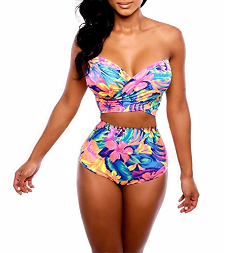 Elady Sexy Printed Beachwear V Top High Waist Bottom Sets Swimsuit Women Bikini (S)