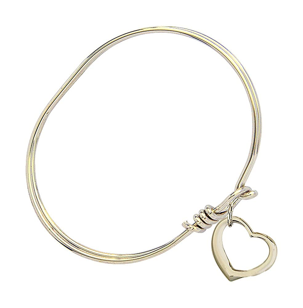 F A Dumont 5 3//4 inch Oval Eye Hook Bangle Bracelet with a Heart Charm.