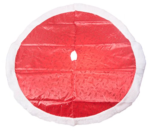 Red Sparkled Swirls Holiday Christmas Tree Skirt - 47.2 Inch (Skirt Silk Swirl)