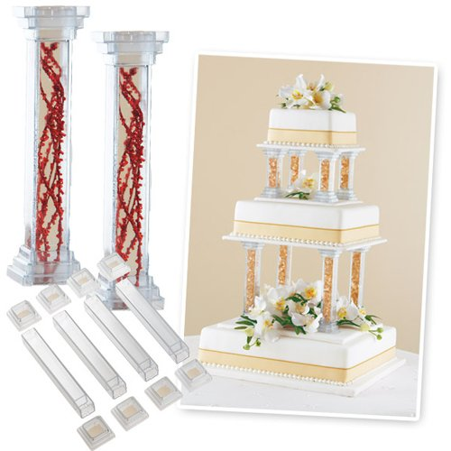 Wilton Enterprises Cake Decorations Fillable Pillars 6 Inch, Includes 4 Pillars and 8 ()
