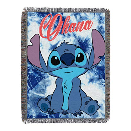 "Lilo & Stitch, ""Shibori Stitch"" Woven Tapestry Throw Blanket, 48"" x 60"", Multi Color"