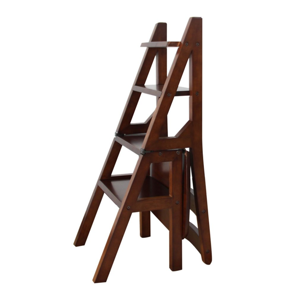 Folding staircase chair: dual ladder stool, honey color, wood color, walnut color ( Color : Walnut color )