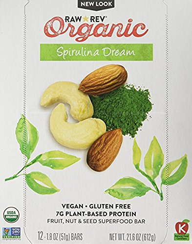 Raw Rev Organic Superfood Bar, Spirulina Dream, 1.8 Ounce Bar (Pack of 12) 7g Protein, 2g Fiber, Vegan, Raw, Organic, Plant-Based, Gluten-Free, Fruit, Nut, Seed Bars