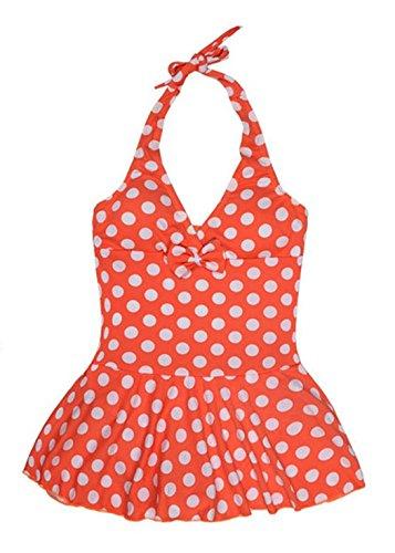 Wantdo Big Girls' Swimwear Solid Infinity Splice One Piece Swimsuit With Dress,Lily Orange,16(age 10-12)
