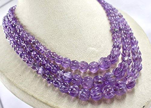 3 Line Natural Amethyst Carved Melon Beads Necklace 16 INCHES 13.5 MM to 6 MM by Gemswholesale ()