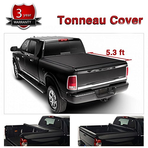 Alxiang 1pc Black Vinyl Clamp On Soft Lock & Roll-up Top Mount Tonneau Cover Assembly w/ Rails+Mounting Hardware Fit 00-04 Dodge Dakota Pickup 5.3ft Fleetside Bed