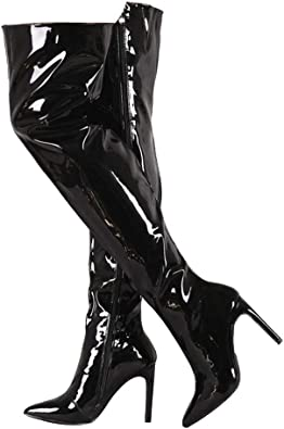 Womens pointy toe 12cm high heel shoes patent leather slim over knee high boots