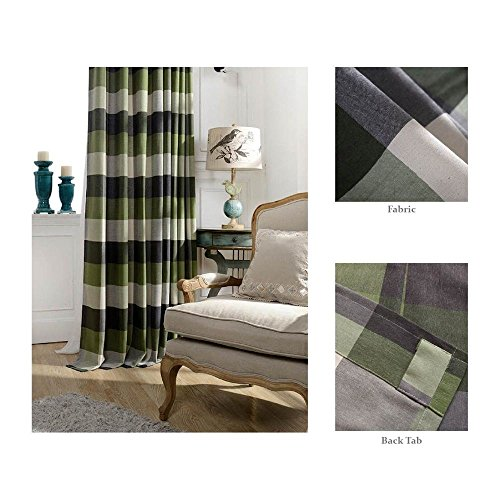 Skyler By Chezmoi Collection Plaid Traditional Back Tab Window Curtain Panel (52'W x 63'L, Sage)
