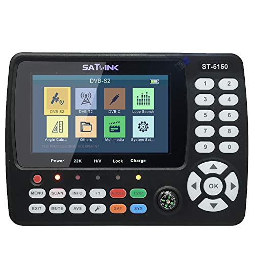 Satellite Finder,Signal Meter, HD Satellite TV Signal Finder KKmoon ST-5150 DVB-S2/T2/C COMBO HD Satellite TV Signal Finder Handheld Signal Meter Satellite Finder H.265 HEVC MPEG-4 4.3 Inch TFT LCD