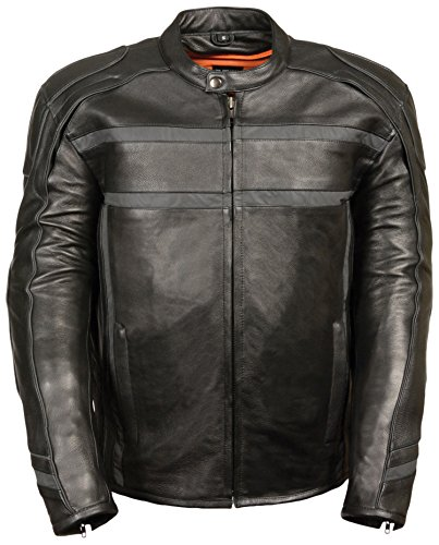 - Milwaukee Leather Men's Reflective Band and Piping Scooter Jacket (Black, XXX-Large)