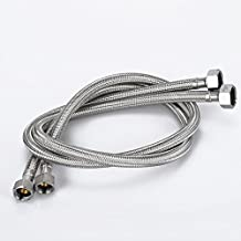 """Brustlife 27.5-Inch Faucet Line Connector Braided Stainless Steel Supply Hose 1/2"""" Compression Female Thread to 1/2"""" I.P. Female Straight Thread Faucet Hose Replacement (One Pair)"""