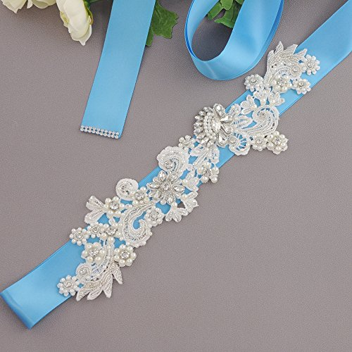 Sash Rhinestones Bridal S157 Dress Sash Women ULAPAN Belt Blue Pearls Wedding Belt s YZSq4wF