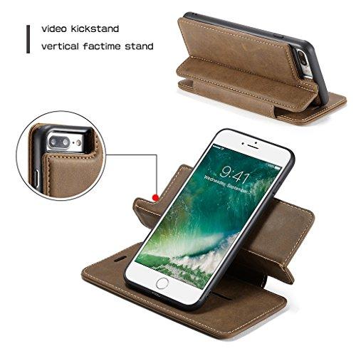 Funda iPhone 8 - Desmontable Billetera el Extraíble 360°Rotación Magnética Anillo de Soporte Separable Caja Flip Cubierta con Ranura Tarjeta para iPhone 8 - Amarillo Café
