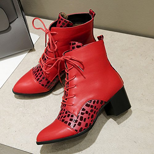 Meotina Women Boots High Heel Winter Shoes Block Heel Ankle Boots Lace up Red 6rncRQ1X8B