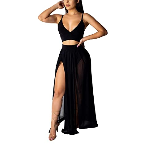 a88daf320a2a8 Amazon.com : Women 2 Piece Outfits Sets Ruched Cami Top and Maxi ...