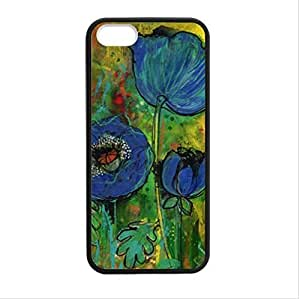 beautiful blue poppy flower art Plastic and TPU (Laser Technology) Case Cover for Apple iphone 5 or 5s