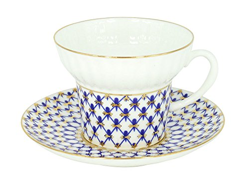 Lomonosov Porcelain Bone China Cobalt Net Tea Set Cup and Saucer Shape Wave Cobalt Net Bone China