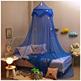 Hidecor Mosquito Net Canopy Bed Curtains Dome Princess Stars Bed Tent Girls Boys Kids, Indoor Game House(Blue)