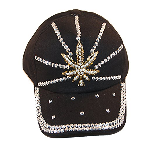 Loyal-Cloth-Rhinestone-Marijuana-Weed-Design-Cap