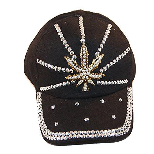 Loyal-Cloth-Rhinestone-Marijuana-Weed-Design-Cap