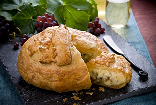 Elegant Brie Creamy Baked Brie en Croûte Gourmet Puff Pastry Easy Frozen Bake at Home Cheese Appetizer (Wine Bottle Design/Garlic Basil Pine Nut)
