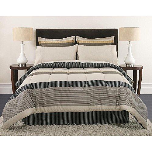 Top King Size Comforter Set Masculine Stripes Beige Gray Tan Bedding