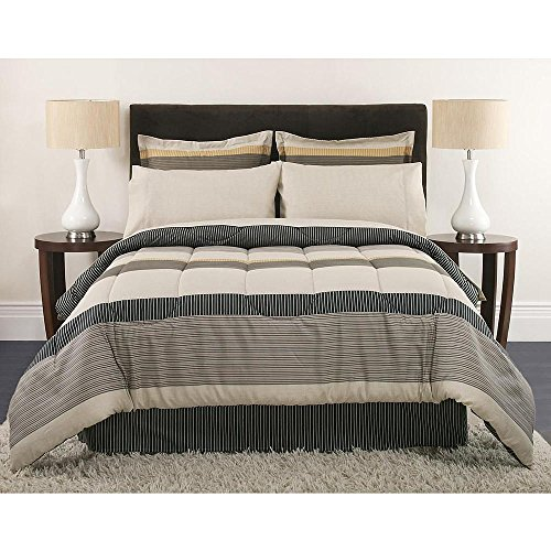 Full Size Comforter Set Masculine Stripes Beige Gray Tan Bedding (Gray Taupe Bedding And)