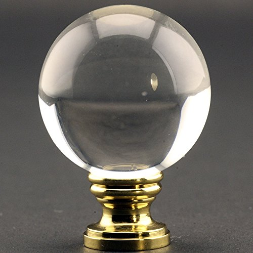 Large Crystal Clear Ball 40mm (1.58'') Lamp Finial on Polished Brass base - 2 Inches High