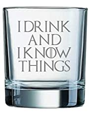 Derwent Laser Craft I Drink and I Know Things Game of Thrones Inspired Whiskey Tumbler Glass