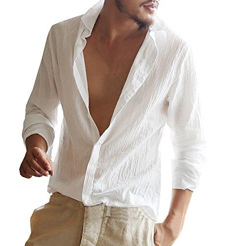 Makkrom Mens Linen T Shirts Long Sleeve Button Down Summer Beach Henley Tops - Caribbean Long Sleeve Shirt