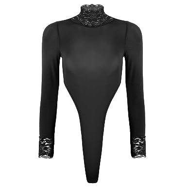bf5b4587ed iEFiEL Women s One Piece Long Sleeve Turtleneck High Cut Thong Leotard  Bodysuit Black One Size