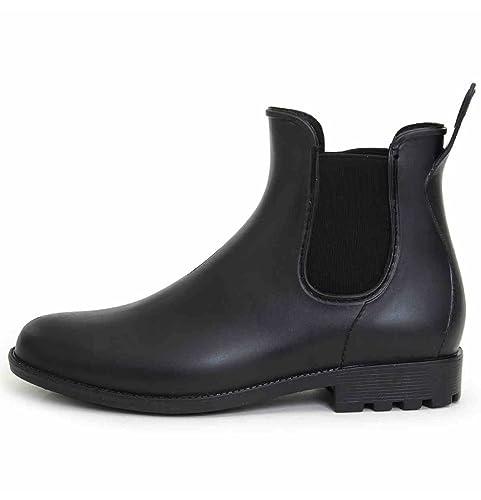Slip Elástico de la Moda de los Hombres en Botas de Lluvia Cortas: Amazon.es: Zapatos y complementos