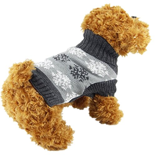 Christmas Dog Clothes, AMA(TM) Pet Puppy Doggie Snowflake Printed Apparel Clothing Winter Warm Knitted Sweater Jacket Coat Hoodie Dog Costume (S, Gray) (Jacket Amo Snow)