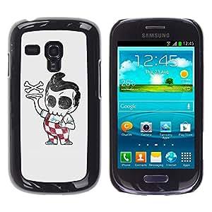 GOODTHINGS ( NO PARA S3 i9300 ) Funda Imagen Diseño Carcasa Tapa Trasera Negro Cover Skin Case para Samsung Galaxy S3 MINI I8190 I8190N - Pizza Boy esqueleto italiana divertida