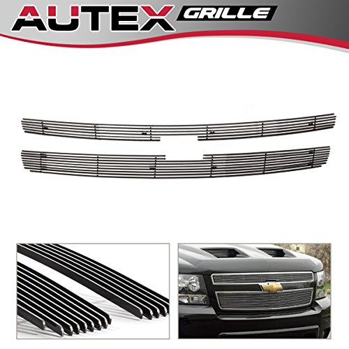 AUTEX C65766A Polished Chrome Billet Grille Insert Compatible with 2007-2013 Chevy Silverado 1500 Grill Main Upper Aluminum