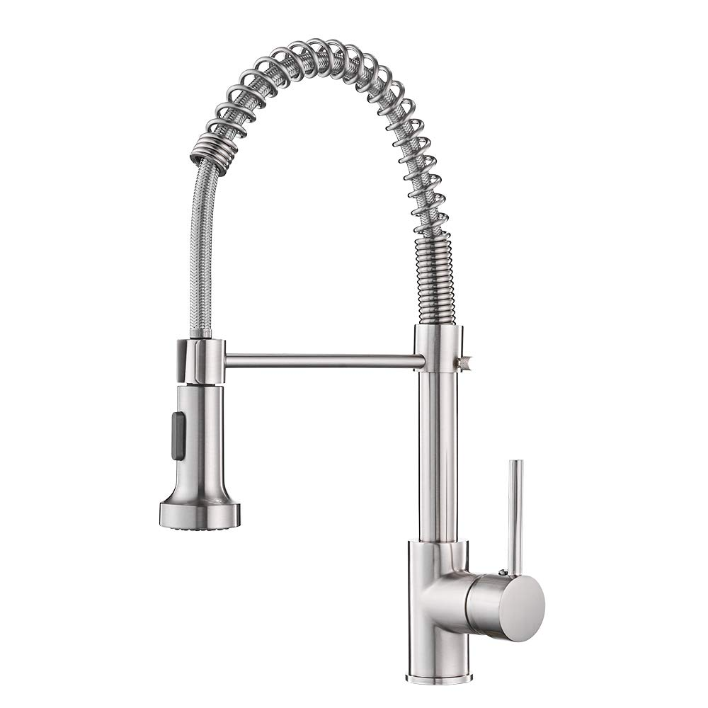 OWOFAN Lead-Free Commercial Solid Brass Single Handle Single Lever Pull Down Sprayer Spring Kitchen Sink Faucet, Brushed Nickel Kitchen Faucets 9009SN