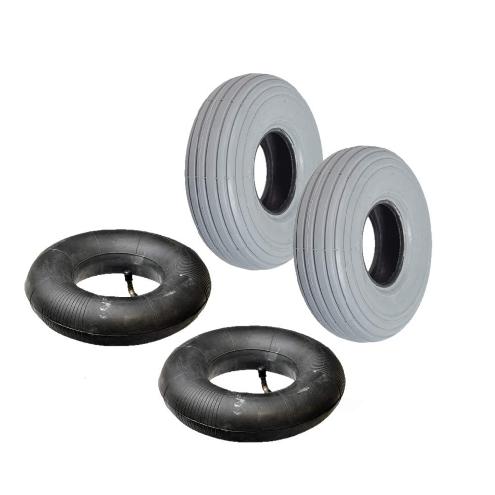 AlveyTech 3.00-4 (10''x3'') Mobility Tire and Inner Tube Sets with Ribbed Tread (Set of 2) by AlveyTech