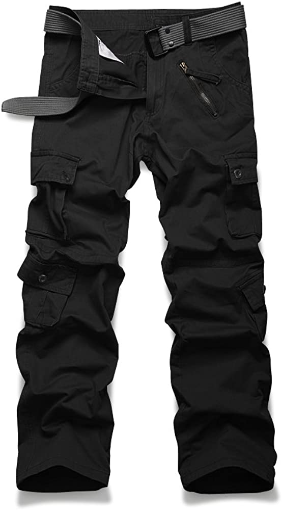 OCHENTA Men's Casual Military Cargo Pants, 8 Pockets Work Combat Outdoor Trousers at  Men's Clothing store