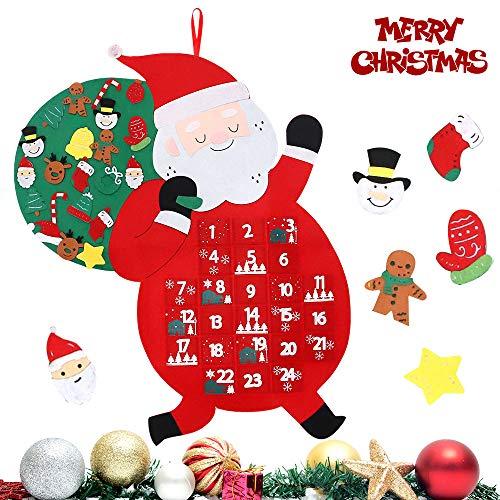 [해외]FUNARTY 크리스마스 어드밴트 캘린더 산타 펠트 어드밴트 캘린더 24일 걸이용 크리스마스 2019 카운트다운 실내 집 문 벽 크리스마스 장식 / FUNARTY Christmas Advent Calendar, Santa Felt Advent Calendar, 24 Days Hanging Christmas 2019 Count...