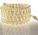 Tupkee LED Rope Light Warm-White - for Indoor and Outdoor use, 24 Feet (7.3 m) - 10MM Diameter - 144 LED Long Life Bulbs Rope Lights