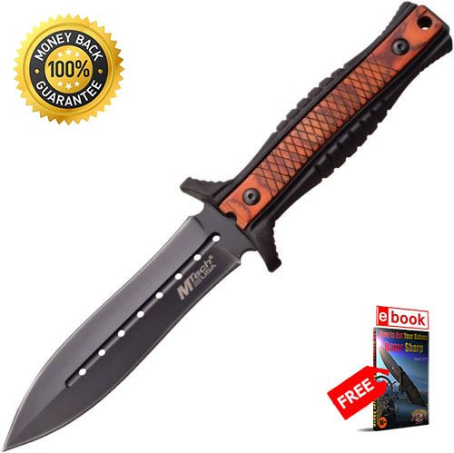 Stainless 9.5' Outdoor Light - Tactical M tech 20-74PW Fixed 9.5'' Pakkawood Knife Double Edge Blade razor sharp strong durable blade survival camping hunting fishing EDC military knife eBOOK by MOON KNIVES