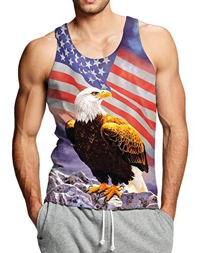 (Adicreat Men Tank Top American Flag Workout T-Shirt Bodybuilding Eagle Vest)
