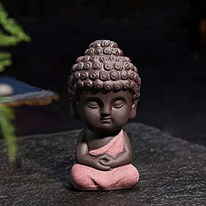 Baradu Small Buddha Statue for Home Car Decor Monk Figurine India Yoga Mandala Sculptures (BS with Pink Color)