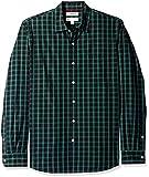 Goodthreads Men's Standard-Fit Long-Sleeve Plaid Poplin Shirt, Black/Green Check, Large