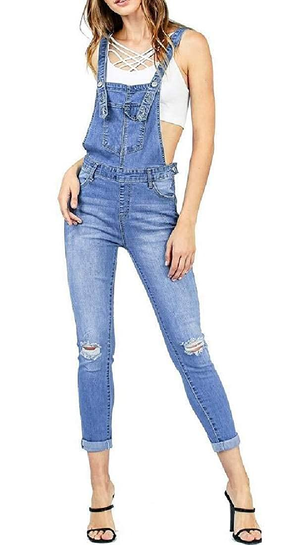 SELX Women Distressed Ripped Jumpsuit Romper Skinny Stretch Denim Bib Overalls