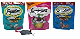 Temptations Mega Size Low Calorie Cat Treats 3 Flavor Variety with Toy Bundle, 1 each: Tempting Tuna Jumbo Stuff, Blissful Catnip, Savory Salmon Jumbo Stuff (5.3-6.3 Ounces)