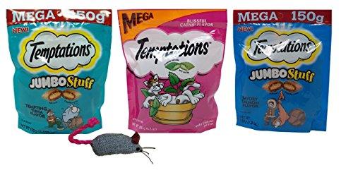 Catnip Treats Salmon - Temptations Mega Size Low Calorie Cat Treats 3 Flavor Variety with Toy Bundle, 1 Each: Tempting Tuna Jumbo Stuff, Blissful Catnip, Savory Salmon Jumbo Stuff (5.3-6.3 Ounces)